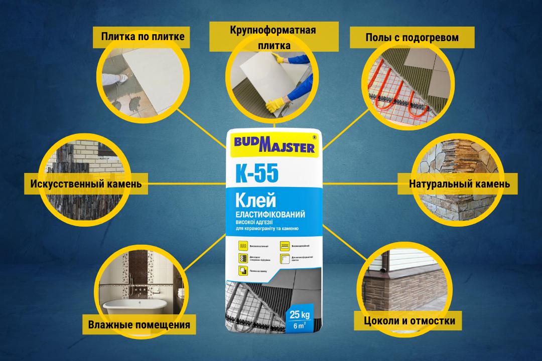 K-55 - клей для керамогранита и камня. Плитка по плитке, полы с подогревом, влажные помещения, крупноформатная плитка, цоколи и отмостки.